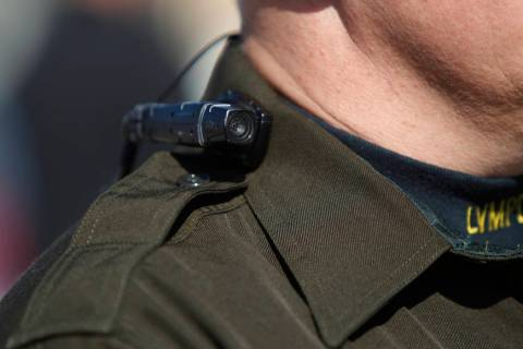 Las Vegas police Sgt. Peter Ferranti is photographed wearing a body camera during a media prese ...