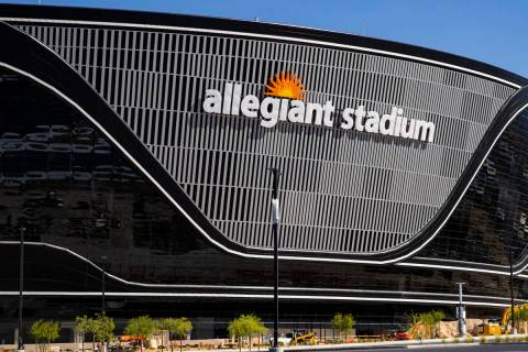 Construction continues on Allegiant Stadium in Las Vegas on Thursday, June 11, 2020. (Chase Ste ...