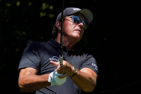 Phil Mickelson on the sixth tee during the second round of the Charles Schwab Challenge golf to ...