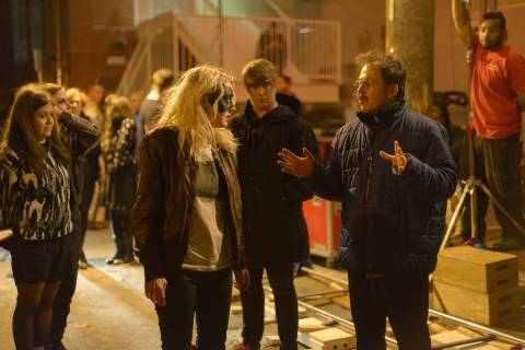 Dakota Fanning and writer-director Gerardo Naranjo in the alley behind Downtown Cocktail Room w ...