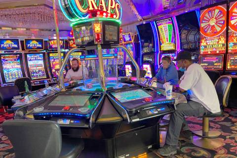 Gamblers at Four Queens in downtown Las Vegas on Friday, June 26, 2020. (K.M. Cannon/Las Vegas ...