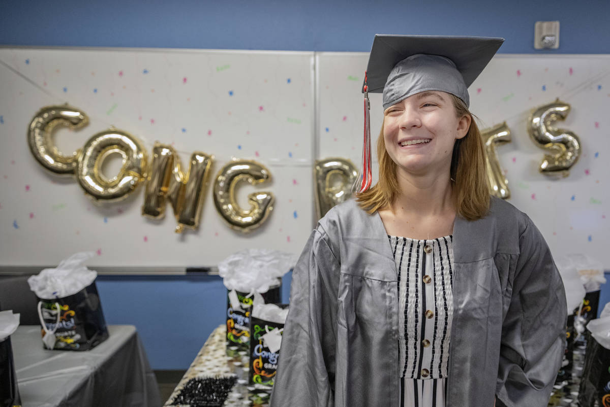 Arbor View High School graduate Joselyn Smith smiles during a graduation celebration at the Cla ...