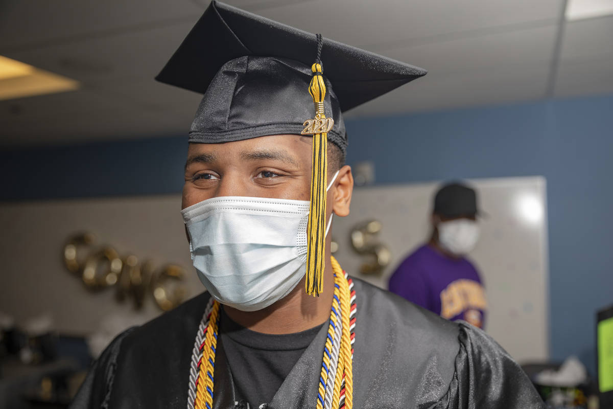 Jaden Hines, 18, a graduate of Nevada State High School, is seen during a graduation celebratio ...