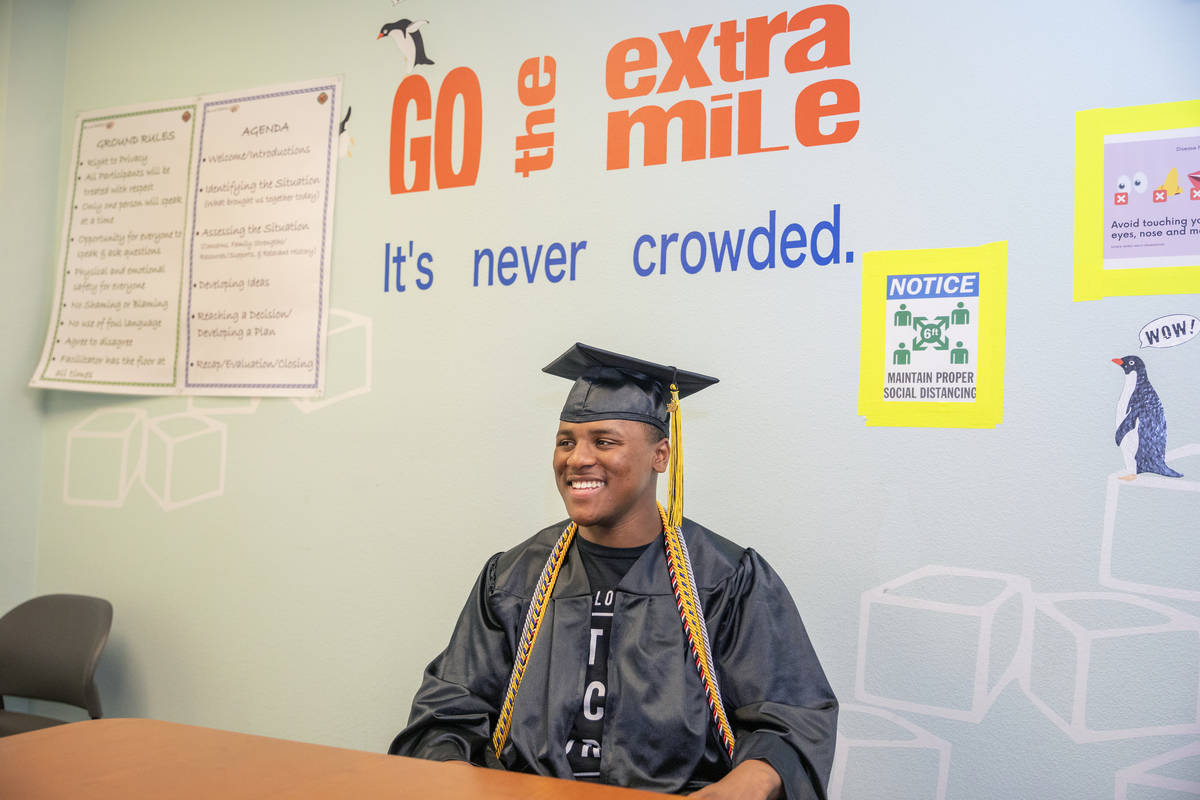Jaden Hines, 18, a graduate of Nevada State High School, discusses his journey of foster care a ...