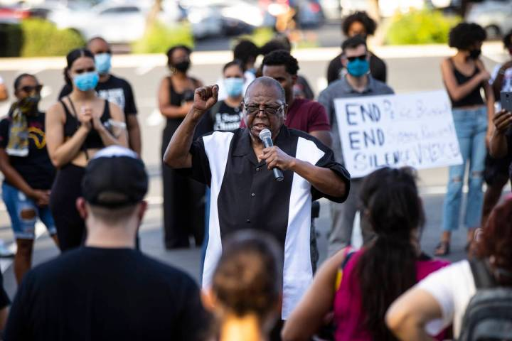 Former Assemblyman Gene Collins speaks during a Black Lives Matter rally at the Sawyer Building ...