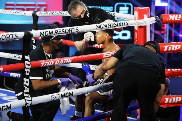 Cutman Jacob Duran tends to boxer Shakur Stevenson between rounds during a recent Top Rank card ...