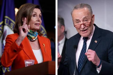 House Speaker Nancy Pelosi, D-Calif., left, and Senate Minority Leader Chuck Schumer, D-N.Y., s ...