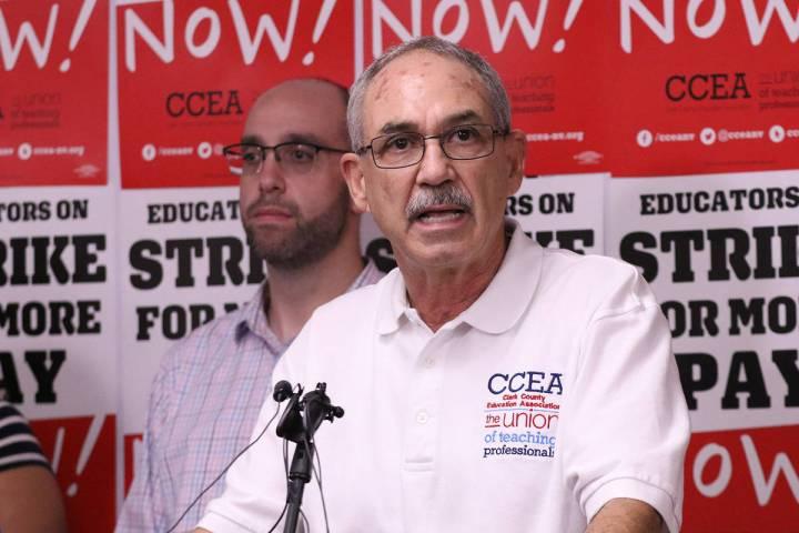 Clark County Education Association executive director John Vellardita speaks at the CCEA buildi ...