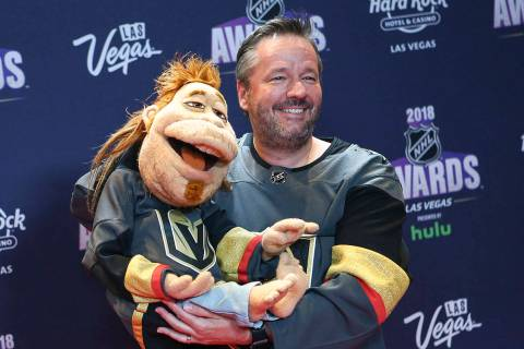 Terry Fator poses on the red carpet ahead of the NHL Awards at the Hard Rock Hotel in Las Vegas ...