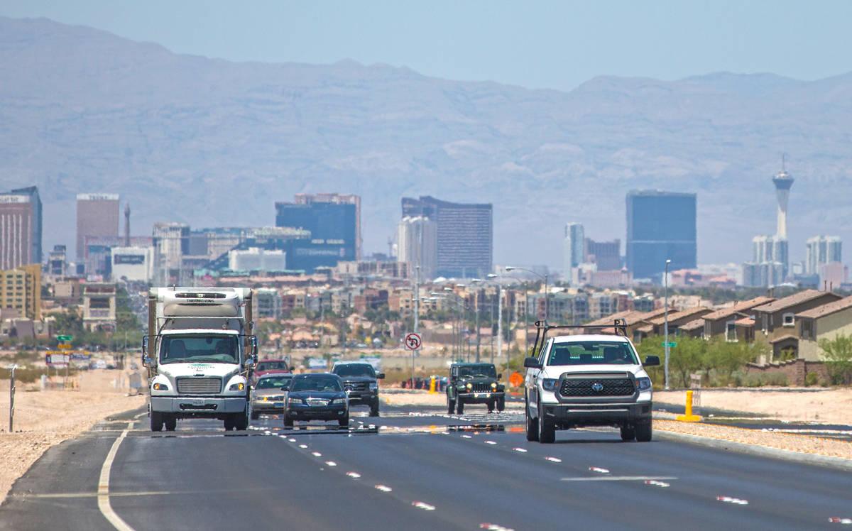 Traffic is shown on South Las Vegas Boulevard in June 2018 in Las Vegas. The Las Vegas Valley e ...
