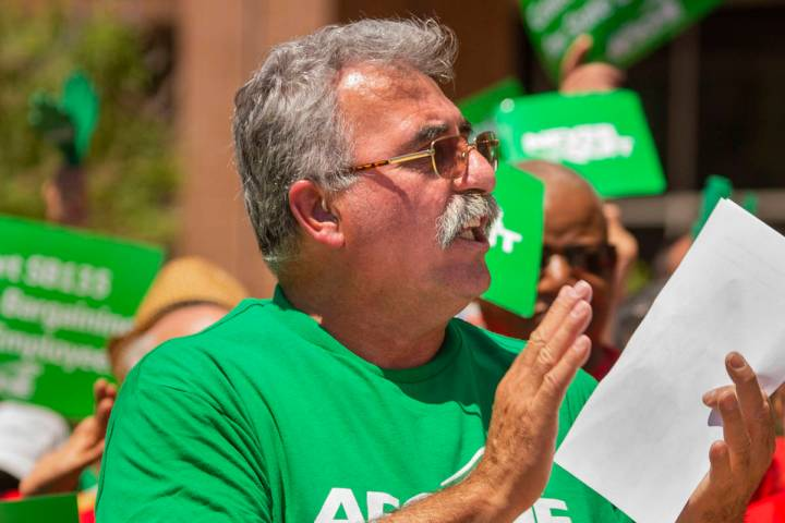In this May 14, 2019, file photo, AFSCME Local 4041 President Harry Schiffman welcomes the crow ...