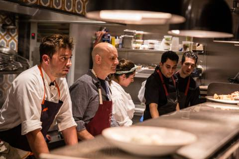 Osteria Fiorella Executive Chef Joel Myers, left, Marc Vetri, second from left, and their team, ...