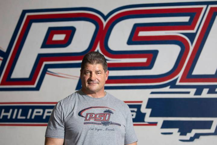 Mark Philippi, former strongman competitor and UNLV strength coach, stands for a portrait at Ph ...