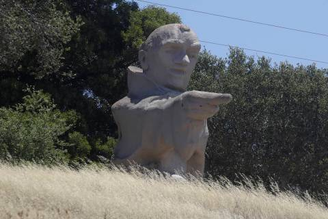 The Junipero Serra statue is shown in Hillsborough, Calif., Thursday, June 25, 2020. (AP Photo/ ...