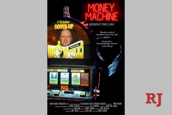 """Stephen Paddock is shown on the poster for the movie """"Money Machine."""" (Ramsey Denison)"""