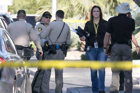 The Metropolitan Police Department investigate a death at the area of East Flamingo Road and Pa ...