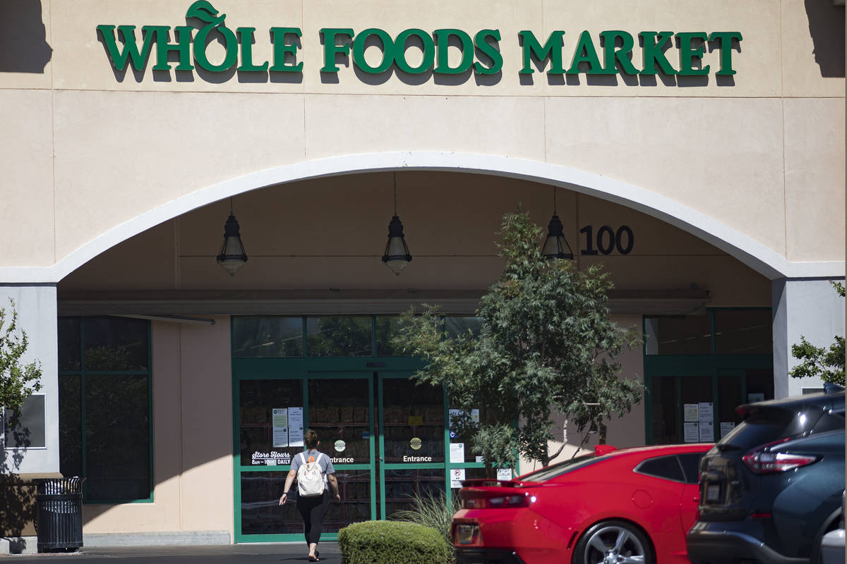 A customer enters the Whole Foods in Henderson, Thursday, July 2, 2020. (Rachel Aston/Las Vegas ...