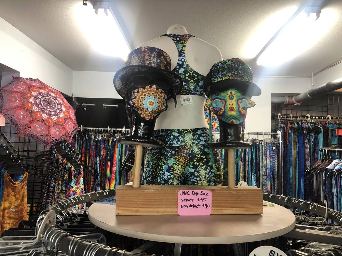 The Arts District tie-dye apparel shop Jammin On Vegas is selling hand-dyed face masks in adult ...