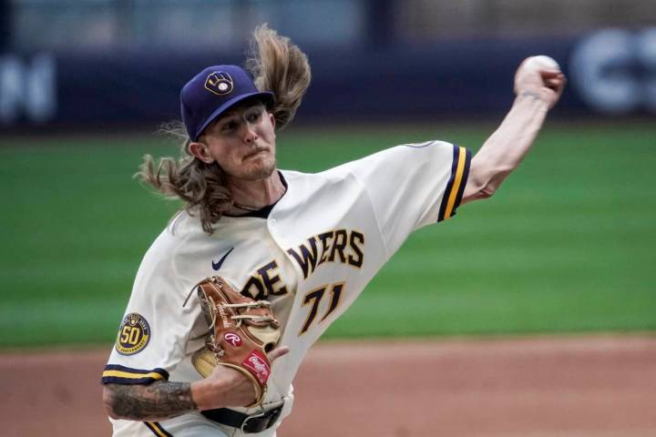 Milwaukee Brewers' Josh Hader throws during a practice session Saturday, July 4, 2020, at Mille ...