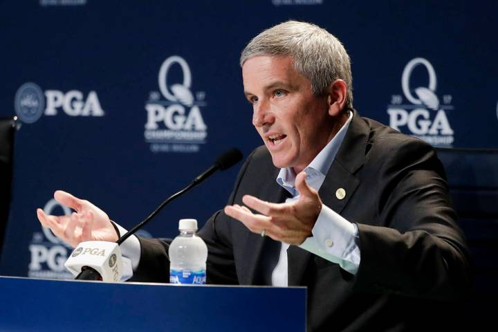PGA Tour Commissioner Jay Monahan speaks during a news conference at the PGA Championship golf ...