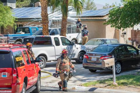Las Vegas firefighters put out a house fire in the northwest Las Vegas Valley on the 4000 block ...