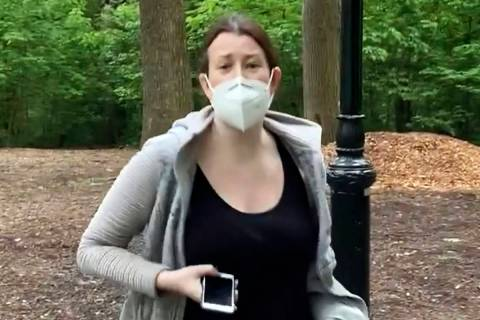 FILE - This file image made from May 25, 2020 video provided by Christian Cooper, shows Amy Coo ...