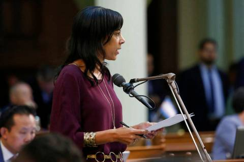FILE - In this July 11, 2019, file photo, Assemblywoman Autumn Burke, D-Inglewood, calls on law ...