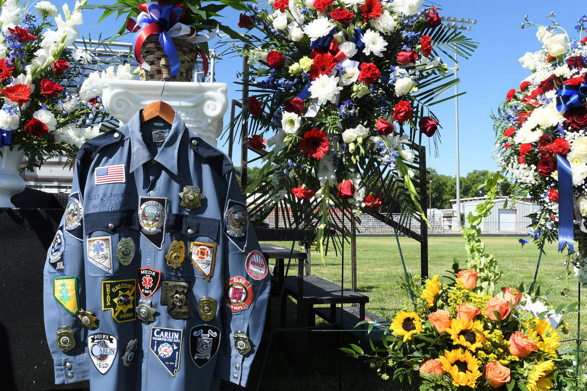 Sgt. Benjamin Jenkins' uniform is displayed at his ceremony of life on Wednesday, July 8, 2020, ...