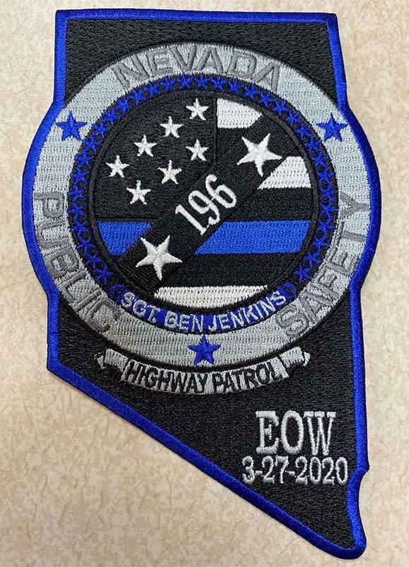 MemorialuniformpatchforSgt.BenJenkins,theNevada Highway Patrol trooperwhowa ...