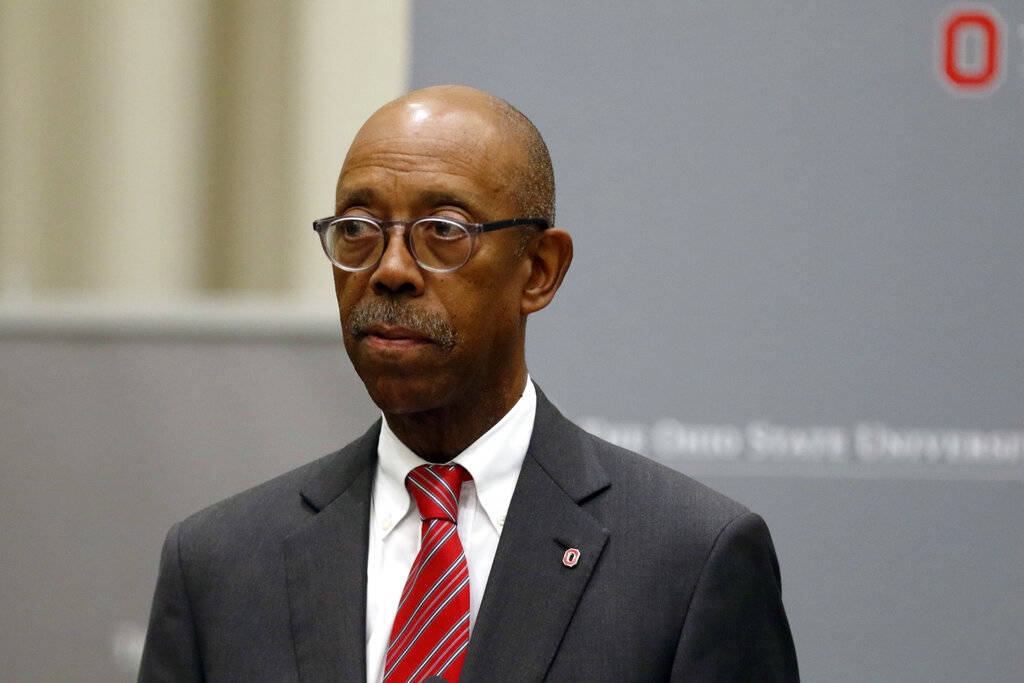 FILE - In this Aug. 22, 2018, file photo, Ohio State University President Michael Drake makes a ...