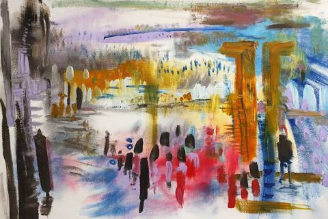 """""""Meet Me at the Bazaar"""" by Effie Loves. Left of Center Art Gallery is showing an exhibition of ..."""