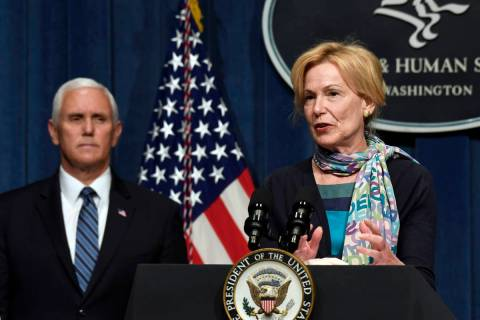 Vice President Mike Pence, left, listens as Dr. Deborah Birx, White House coronavirus response ...