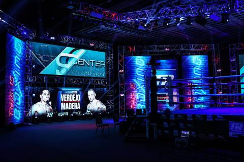 Top Rank's made-for-TV boxing set at the MGM Grand's Grand Ballroom sits empty before a night o ...
