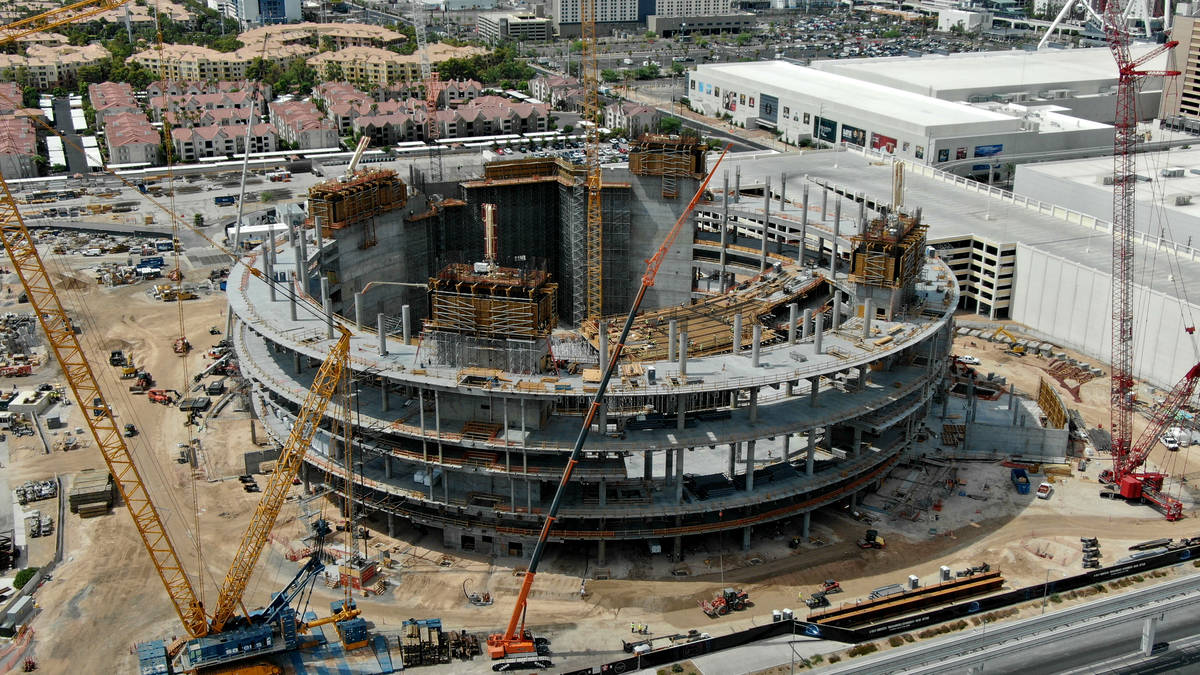 An aerial photo of the construction site at the MSG Sphere with much of the scaffolding removed ...