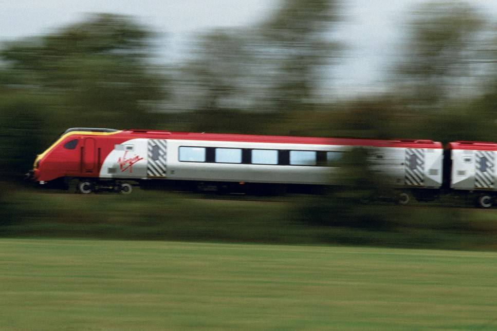 In this undated courtesy photograph, a Virgin Trains high-speed train travels between England a ...