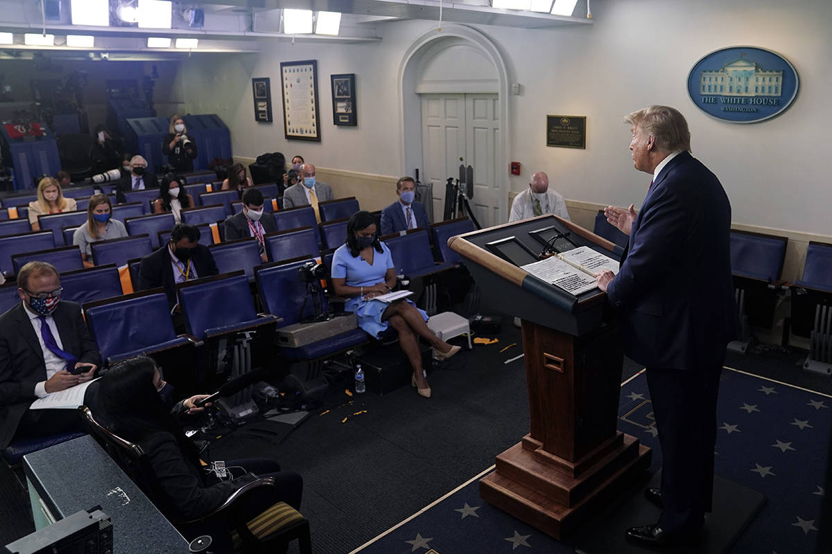 President Donald Trump speaks during a news conference at the White House, Tuesday, July 21, 20 ...