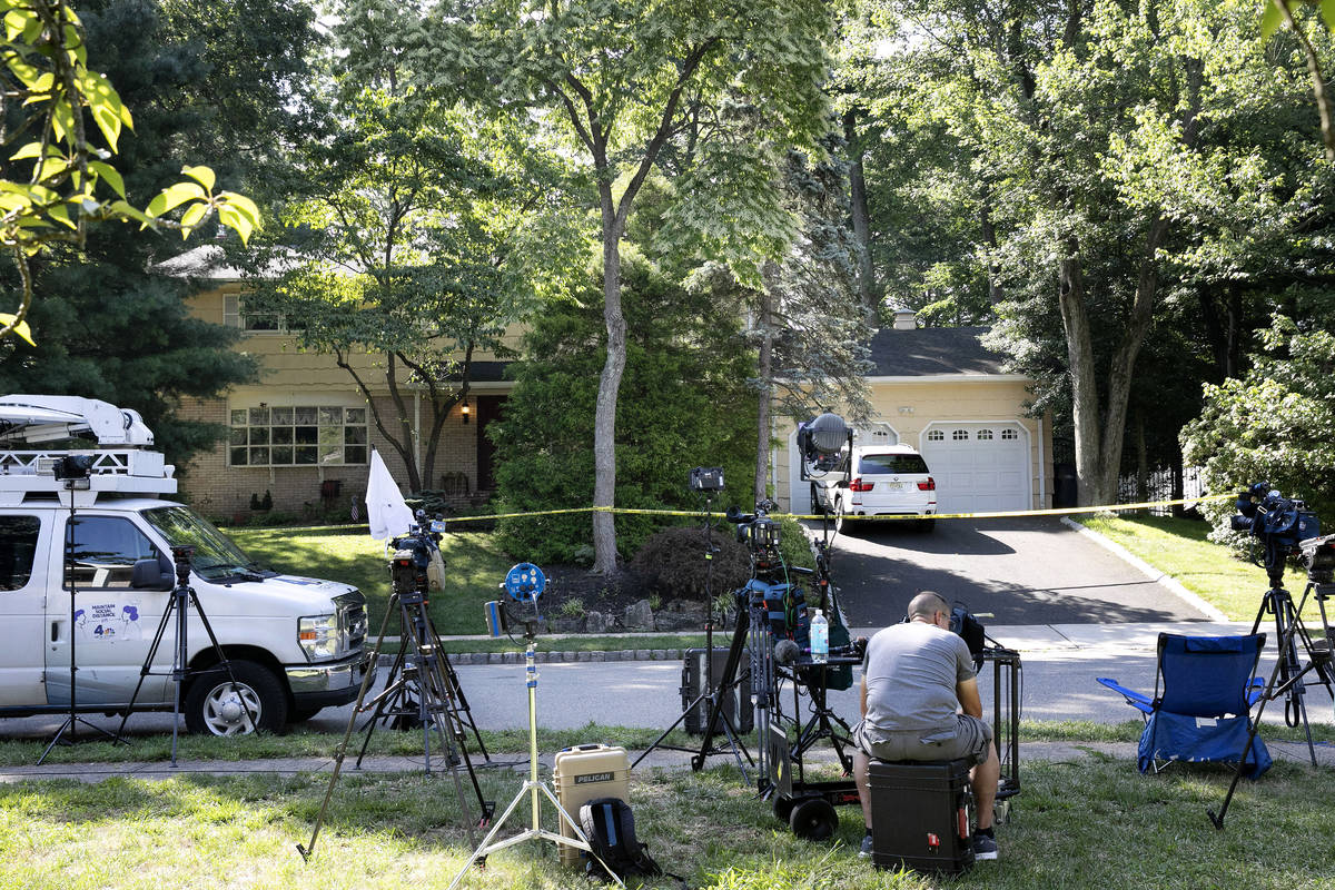 News media is set up in front of the home of U.S. District Judge Esther Salas, Monday, July 20, ...