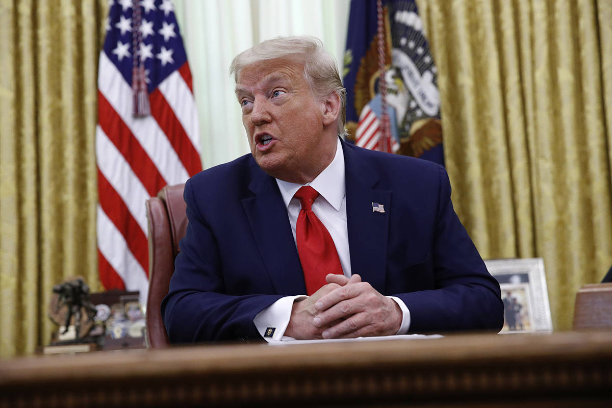 President Donald Trump speaks during a law enforcement briefing on the MS-13 gang in the Oval O ...