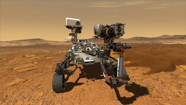 This illustration depicts NASA's Perseverance rover operating on the surface of Mars. Persevera ...