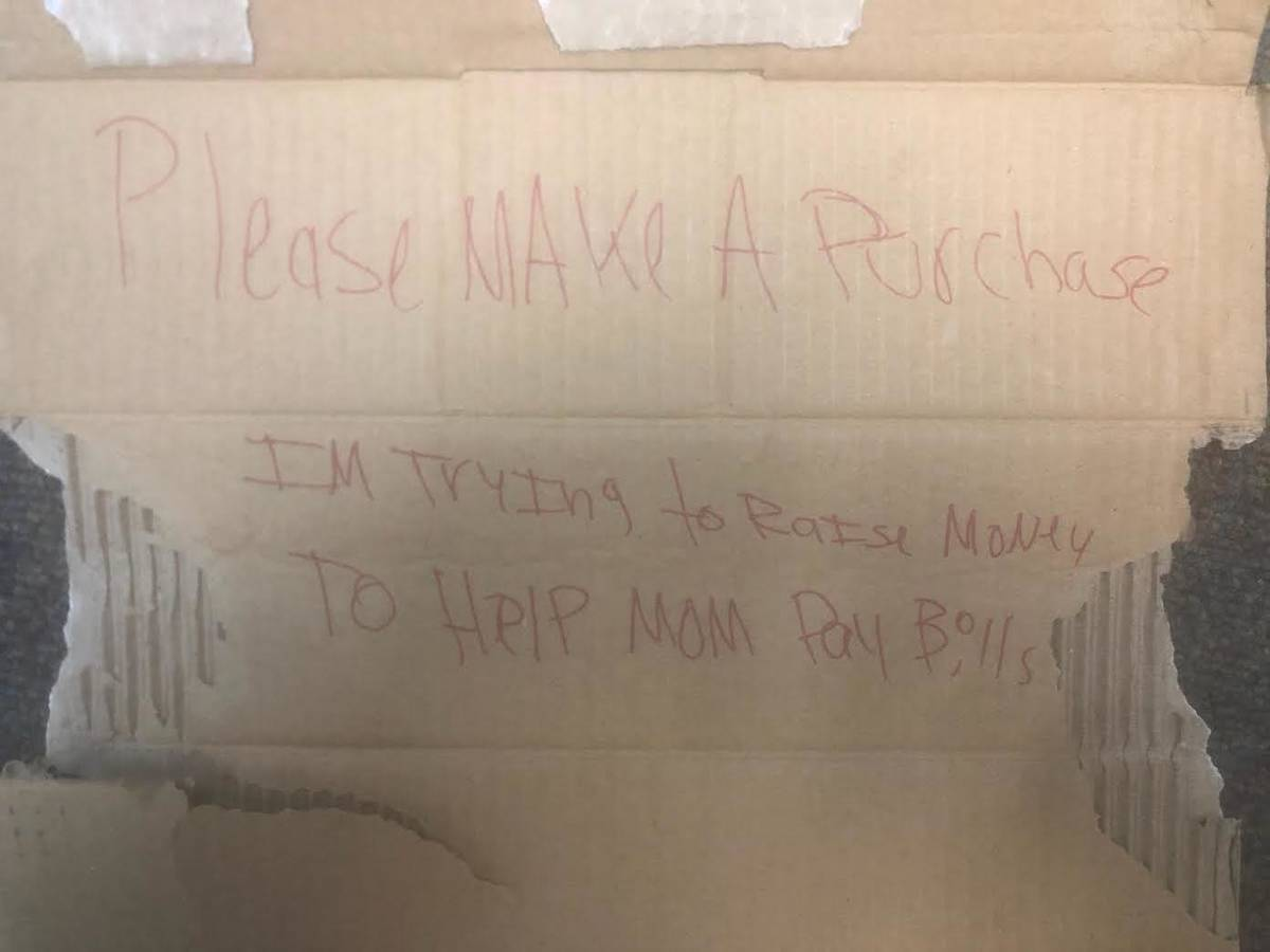 The sign left behind in Stephanie Graville's classroom after the break-in (courtesy)