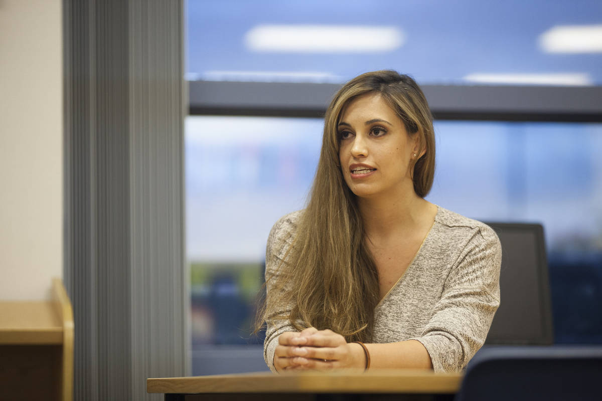 Danielle Ford answers a question at a debate against Kali Fox Miller for the Clark County Schoo ...
