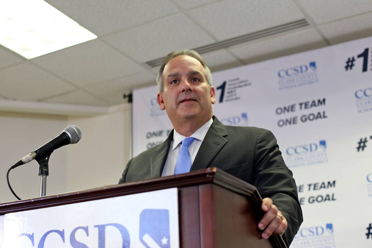 Clark County School Superintendent Dr. Jesus Jara speaks to the media at a press conference inf ...