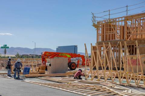 Construction continues on the Mosaic townhome project located south of the Las Vegas Strip near ...
