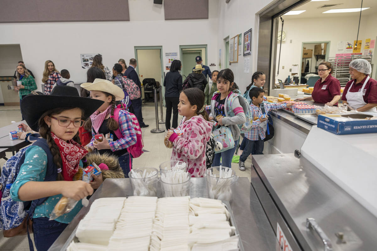The Clark County School District plans to run school buses to bring children to cafeterias so t ...