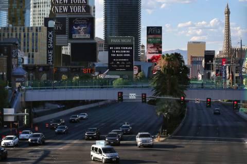 Traffic on Las Vegas Boulevard near Tropicana Avenue in Las Vegas, Monday, July 27, 2020. (Erik ...
