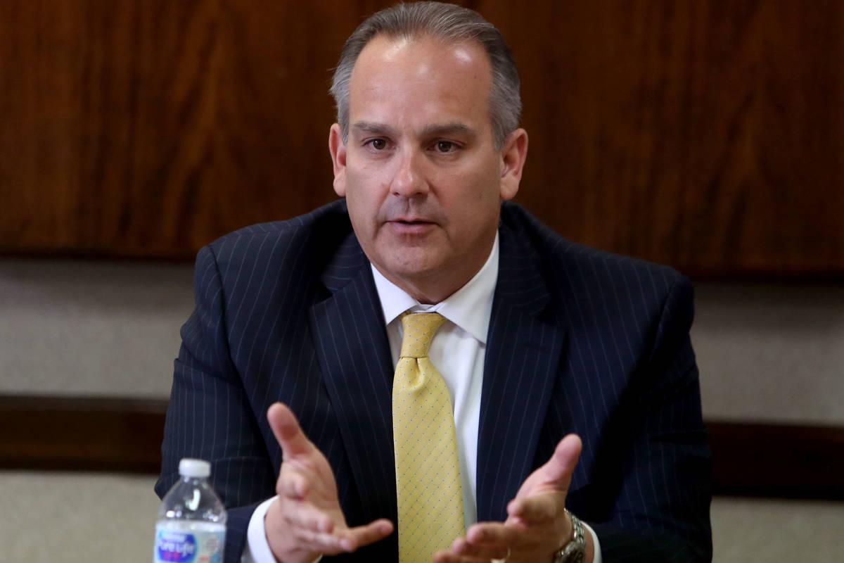 Clark County School District Superintendent Jesus Jara speaks at the Las Vegas Review-Journal i ...