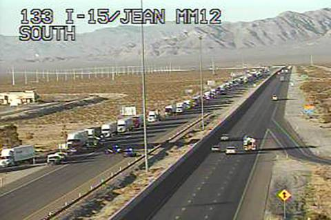 Northbound Interstate 15 traffic exits the freeway at mile marker 15 near Jean on Thursday, Jul ...