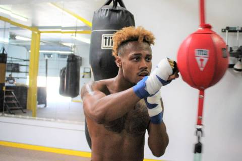 Junior featherweight boxer Raeese Aleem trains in Las Vegas ahead of his fight Saturday at Mohe ...