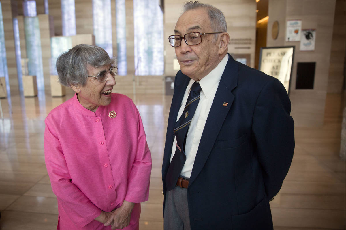 Flossie Vallen and her husband, Jerry Vallen, wait to attend a proclamation for UNLVino Week at ...
