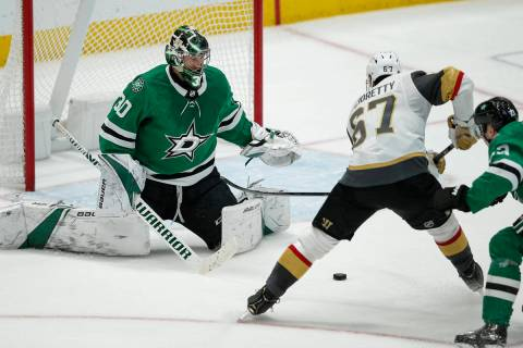 Vegas Golden Knights forward Max Pacioretty (67) scores the game winning goal as Dallas Stars g ...